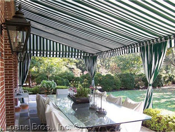 Residential Stationary Frame Awning with Drapes