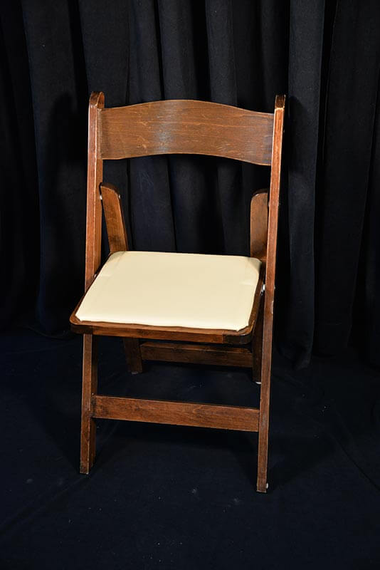 The Fruitwood Padded Chair with cream-colored inlaid pad is perfect for indoor or outdoor events. The Fruitwood color is very attractive and these pair well ... : chairs with tables - Cheerinfomania.Com