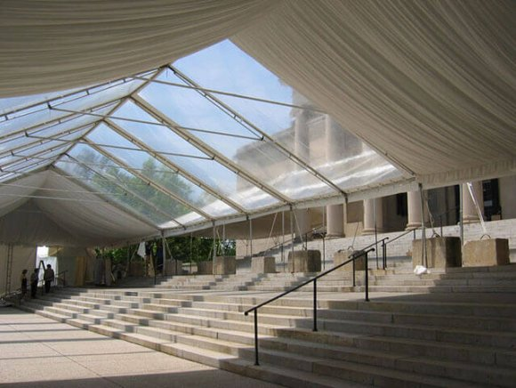 custom-installation-tent-the-front-steps-of-the-bma