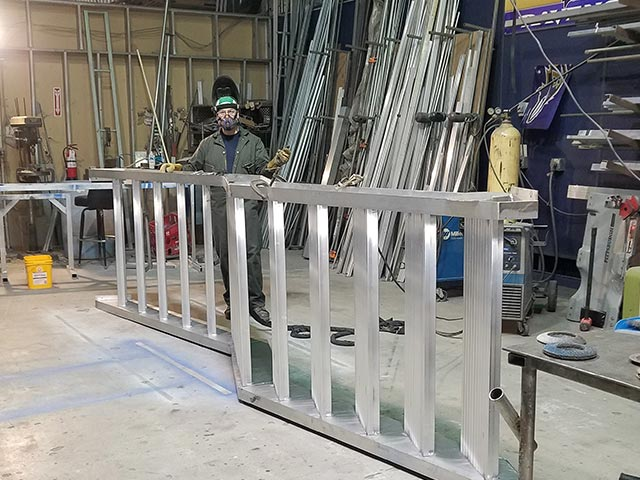 Custom fabrication of aluminum staircase